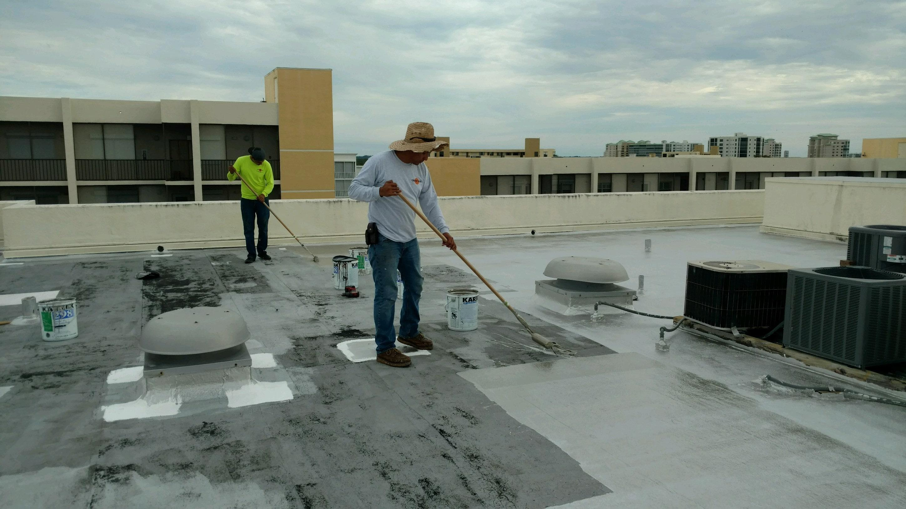 Roof Coating on Flat Room