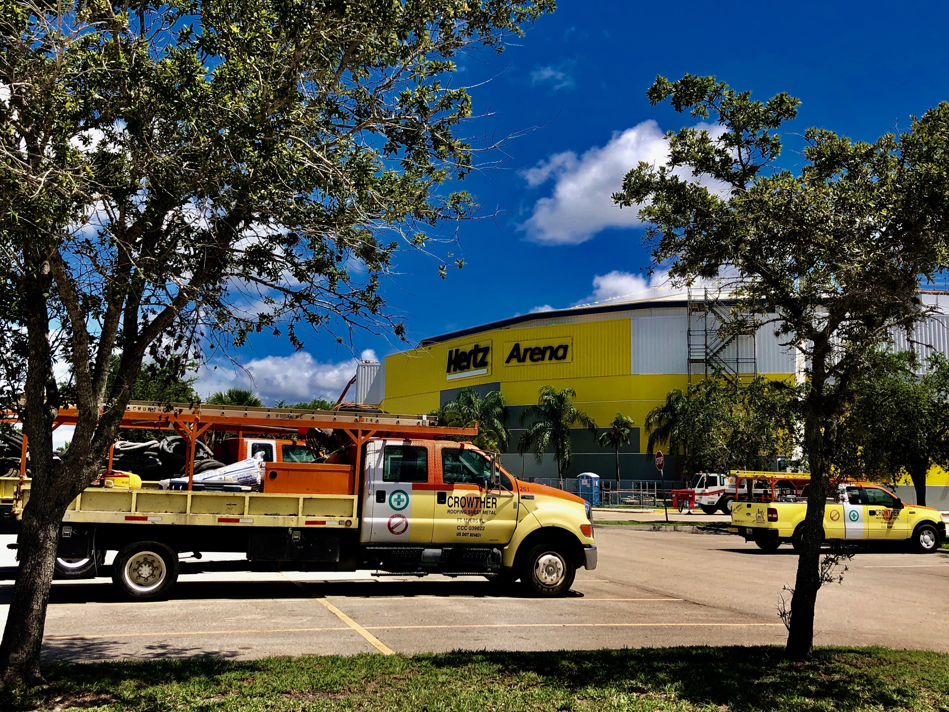 Trucks pulling in at Hertz Arena
