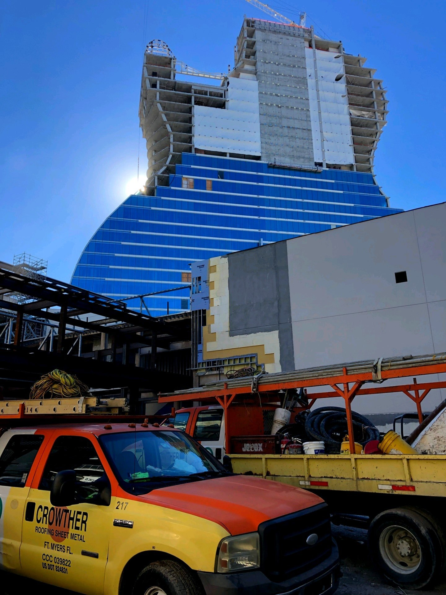 Crowther Roofing on site working on the Seminole Hard Rock Hotel & Casino Rooftop
